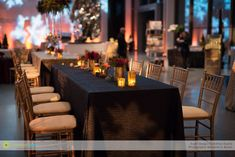 Festive linens and centerpieces gave the room an inviting holiday feel.
