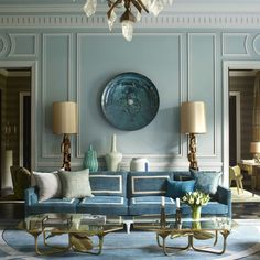 Deeply, madly blue. {#interiordesign by Jean-Louis Denoit,  by @simonuptonphotos via @elledecor}