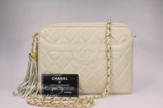 Timeless Luxuries - CHANEL Beige Clair Lambskin Sac Camera Bag w/ Tassel Gold Hw