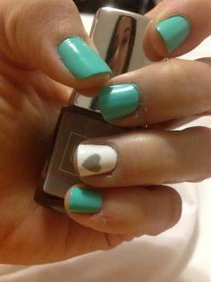 Turquoise white gray heart nail art #nailart