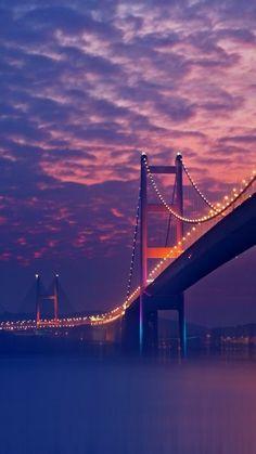 Bridge Night Lights Purple Android Wallpaper