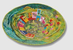 Quilting isn't just for beds anymore -- Hilde Morin, Quilt in a Bowl - Textile Fiber Art, Textile Artists, Fabric Painting, Fabric Art, Fabric Bowls, Paper Bowls, House Quilts, Landscape Quilts, Collage Art