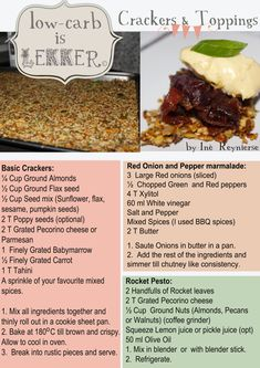 Banting Meal Plan – Low – carb is lekker. A Proudly South African Low carb, High fat, Survival Guide Banting Diet, Banting Recipes, Low Carb Recipes, Cooking Recipes, Healthy Recipes, Healthy Treats, Diabetic Recipes, Kos, Low Carb Crackers