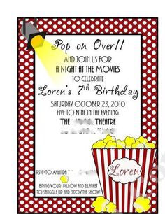 Popcorn and movies Movie Night Party Ideas | Photo 1 of 16 | Catch My Party