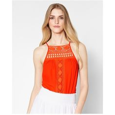 Ramy Brook Wendy Top ($113) ❤ liked on Polyvore featuring tops, multicolor, sleeveless, red lace top, sleeveless summer tops, no sleeve tops, key hole top and keyhole top