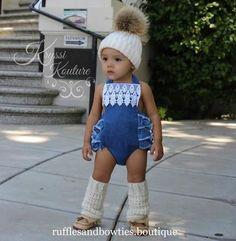 Kryssi Kouture Denim & Lace Ruffle Romper - Demin Baby Romper - Ruffle Butt Denim Romper - Baby Lace & Denim Romper