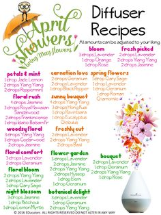 April Showers will bring May Flowers but you shouldn't have to wait that long. Now is the perfect time to try some new blends in the diffuser! These custom blends feature the amazing floral oils Young Living offers. If you havent played around with putting them in your diffuser before you are in for a real treat. It truly smells like a bouquet of fresh-picked flowers! And you don't have to water them! #diffuserrecipes #OilwaysEssential