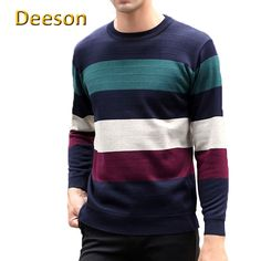 2017 High Quality Winter Knitted Full Rushed Fashion Hot Sale New Stripe Long-sleeved Round Neck Tee Keep Warm Men Sweater