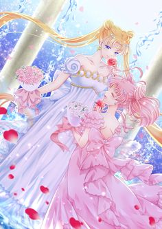 2girls bare_shoulders bishoujo_senshi_sailor_moon blonde_hair blue_eyes bouquet bow chibi_usa closed_eyes collarbone crescent double_bun dress facial_mark flower forehead_mark hair_ornament hairclip kairi_(oro-n) long_hair mother_and_daughter multiple_girls pink_bow pink_dress pink_hair pink_rose princess_serenity red_rose rose short_hair small_lady_serenity smile strapless_dress tsukino_usagi twintails white_bow white_dress white_rose