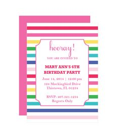 Free Printable Party Invitation Happy Stripes from Free Printable Party Invitations, Make Your Own Invitations, Free Printable Banner, Party Printables, Printable Templates, Invitation Templates, Rainbow Birthday Invitations, Rainbow Birthday Party, 6th Birthday Parties