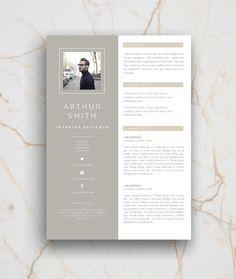 CV / Resume template and cover letter. Professional, creative page design, adjustable layout. Self Branding and presentation. Resume Design, Branding Design, Brand Identity Design, Interior Design Cv, Interior Design Portfolios, Minimal Business Card, Business Card Design, Self Branding, Corporate Branding