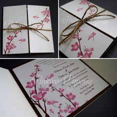 Cherry Blossom tree is there anything more beautiful?  A mix of boho and rustic in this beautiful gatefold invitation.