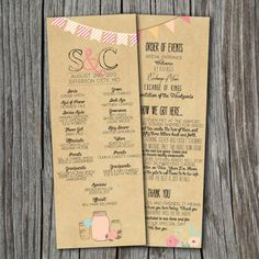 Wedding Program - Printable, Custom - DIY Wedding - RUSTIC, KRAFT Paper, Double-Sided