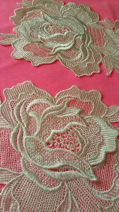 It is sew on lace applique.Color: polyesterSize of each rose flower approximately x is sold by piece. Gold Lace Fabric, Snowflake Quilt, Rose Applique, Vintage Lace, Deep Purple, White Lace, Lace Trim, Quilts, Sewing