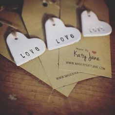 LOVE HEARTS - Porcelain Gift Tags www.madebykatyjane.com #porcelain #ceramics #love #hearts #gifttags #tags #weddings #valentines #birthdays #engagement