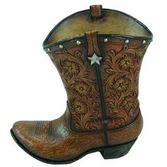 Tooled Leather Flower Boot Sculpture