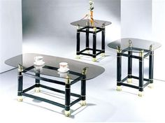 Greenfield Black Glass 3pc Clear Glass Coffee Table Set