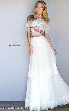 Sherri Hill 51022 Ivory/Multi size 4  Bohemian inspired two-piece with a lace over the shoulder ruffle and matching choker.  New Braunfels Prom Shop San Antonio Prom Dress Austin Prom Dresses