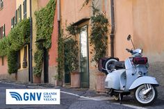 Old scooter parked in a typical Ligurian narrow street in Boccadasse, an old mariners' neighbourhood of the city. #Genova, #Liguria, #Italy. Discover #GNV routes from/to #Liguria here: http://www.gnv.it/en/ferries-destinations/genoa-ferries-liguria.html