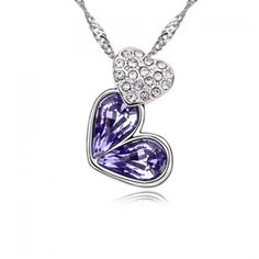 Sparking Rhinestoned Heart Decorated Pendant Necklace For Women