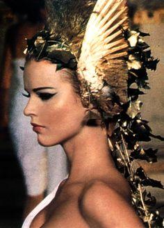 Eva Herzigova as Icarus at Alexander McQueen's debut show for Givenchy Haute Couture Spring/Summer 1997, Ecole des Beaux-Arts, Paris
