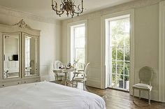 WITH Just alittle country french pieces the bedroom is just ready to please. using multiple textures of white, gives you the opportunity to add any color on that you wish.