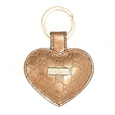 Gucci 199915 AZA1G Gold Patent Leather Heart Key Chain Ring
