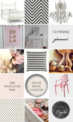 Moodboard | Inspiration Board | Black and White with Blush Pink | Feminine and Glamorous Dressing Room | Chevron | Stripe | Polka Dots via Fairly Light