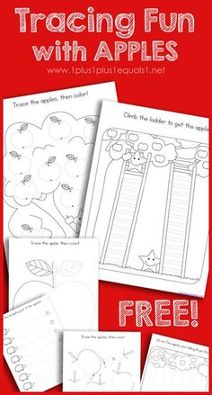 Free Apple Theme Tracing Fun Printables - work on fine motor skills with these apple printables! Fall Preschool Activities, Apple Activities, Homeschool Kindergarten, Free Preschool, Preschool Worksheets, Preschool Learning, Fun Learning, Motor Activities, Homeschooling
