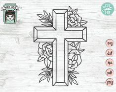 Original, Digital Artwork - Personal and Commercial Use by WildPilotLLC Cross Coloring Page, Cross Drawing, Cactus Vector, Cross Art, Flower Skull, Flower Mandala, Tattoo Stencils, Monogram Frame, Cross Designs