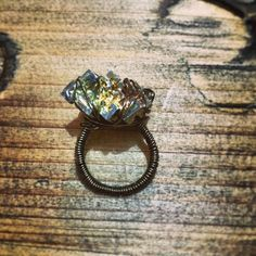 "@Somsri Saelee's photo: ""Cocktail ring made of the element Bismuth - amazing how many colours come out in the light! Blue, yellow, pink, red, green, orange..."" #jewellery #handmade #jewelry #ring #cocktailring #crystals #somsri #gemstone #bismuth #letsgetdowntobismuth"