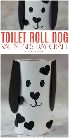 Cute Dog Valentines Day Toilet Paper Roll Craft - Kids Crafts - valentines day crafts for kids cute toilet roll dog - Valentine's Day Crafts For Kids, Valentine Crafts For Kids, Dog Crafts, Toddler Crafts, Preschool Crafts, Art For Kids, Yarn Crafts, Cool Kids Crafts, Easter Crafts