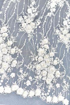 Off White Beaded Floral Bridal Wedding Dress Lace Fabric,French Bridal Fabric,Elegant Embroidered Inches Wide By The White Lace Fabric, Bridal Lace Fabric, Embroidered Lace Fabric, Wedding Fabric, Floral Lace, Embroidery 3d, White Embroidery, White Lace Wedding Dress, Dress Lace