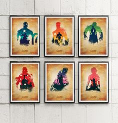 Avengers Thor, Captain America, Iron Man, Hulk, Hawkeye, Black Widow Poster Set  #Minimalism