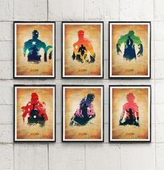 Avengers Thor, Captain America, Iron Man, Hulk, Hawkeye, Black Widow Poster Set  #Minimalism