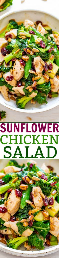 Sunflower Chicken Salad - LOADED with juicy chicken, veggies galore, sunflower seeds, and a sunflower seed butter dressing!! EASY, healthy, ready in 15 minutes! A HEARTY and satisfying salad!!