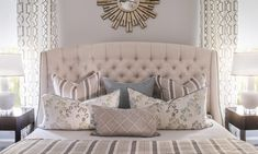 Classic Custom Home - Nandina Home & Design tufted headboard master bedroom retreat transitional style bed.