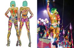 Sketch of the outfit on the left and Katy in her finished Birthday suit on the right!