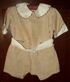 The Gatherings Antique Vintage - Vintage 1920 1930 Embroidery Brown Stripe Children Toddler Rompers, $75.00 (http://store.the-gatherings-antique-vintage.net/vintage-1920-1930-embroidery-brown-stripe-children-toddler-rompers/)