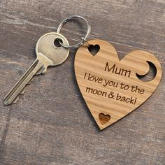 I Love You To The Moon And Back Mothers Day Present Gift For Mum Mummy Keyring - Pretty Personalised