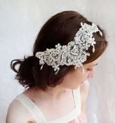 lace rhinestone wedding hair accessory ivory by thehoneycomb