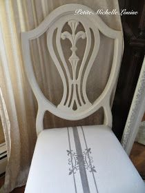 Chair Makeover - tutorial on how to cover a chair pad with a drop cloth and then paint and stencil it.  She also has great info on how to prep a drop cloth to use in home decor - Petite Michelle Louise