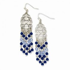 Silver-tone Light & Dark Blue Crystal Chandelier Dangle Earrings #CartsOnFire #shopwithapurpose