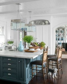 "Love the shade of blue - 8,880 Likes, 57 Comments - House Beautiful (@housebeautiful) on Instagram: """"The kitchen is the heart of every home."" — Debi Mazar  (: James Merrell 