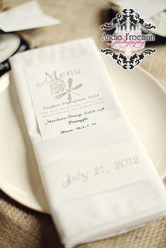 Handmade menu with dragonfly stamp.  Summer shabby chic barn wedding.  Photography by Andie Freeman Photography www.TheAthensWeddingPhotographer.com Event design, floral, and planning by Wildflower Event Services www.WildflowerEventServices.com Venue:  Private property in Chickamauga, Ga Barn Wedding Inspiration, Event Services, Private Property, Menu Design, Wedding Details, Wild Flowers, Real Weddings, Shabby Chic, Wedding Photography