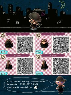 Animal Crossing new leaf cute black dress qr code