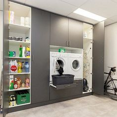 Buanderies More and more customers discover our custom solution for your washing machine space The L Laundry Cupboard, Laundry Cabinets, Laundry Room Storage, Cupboard Storage, Laundry Room Layouts, Small Laundry Rooms, Laundry In Bathroom, Room Interior, Interior Design Living Room