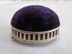 ANTIQUE EDWARDIAN HALLMARKED STERLING SILVER PIN CUSHION - GALLERIED BASE c1906