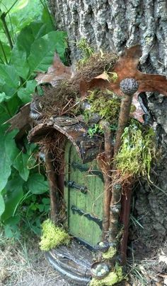 These are my favorite fairy gnome doors. If you don't know, gnome doors go on trees and fairy doors go on fairy houses. Fairy Garden Houses, Gnome Garden, Garden Art, Garden Design, Garden Ideas, Fairy Garden Doors, Backyard Ideas, Fairy Tree Houses, Fairy Doors On Trees