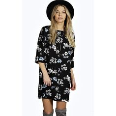 Boohoo Lucia Floral Print 3/4 Sleeve Shift Dress ($26) ❤ liked on Polyvore featuring dresses, black, special occasion dresses, cocktail dresses, black cocktail dresses, floral bodycon dress and 3/4 sleeve black dress